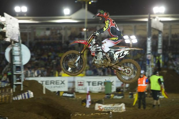 RARE AIR: Chad Reed flies on his way to victory in the Toowoomba round of the Australian Supercross Championships.