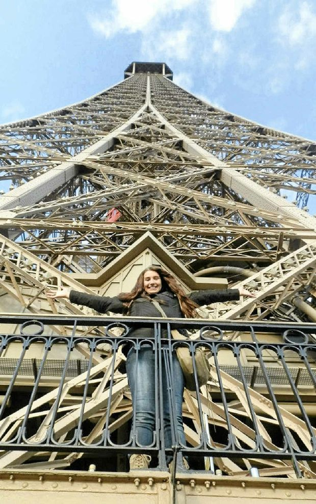 The intrepid traveller checks out the Eiffel Tower.