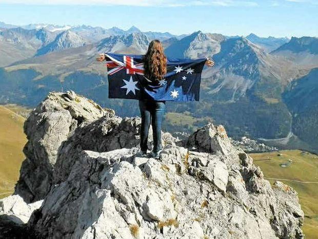 15-year-old Jessie Gretener shows her true colours on the top of the Swiss Alps.