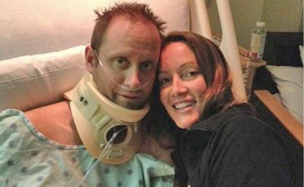 HEARTBREAKING FIGHT: Former Buderim businessman Nick Duggan with wife Allison in hospital in the United States.