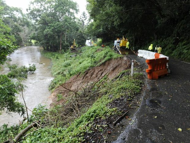 Crews start work to stabilise the landslip on Upper Wilsons Creek road yesterday. Photo Kate O'Neill/The Northern Star.