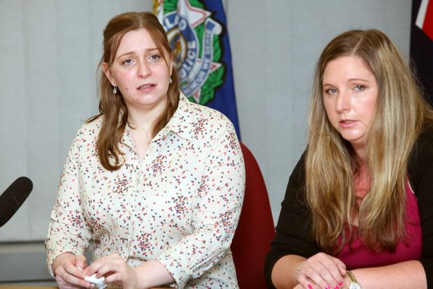 Sisters of murder victim Julian Neuendorf, Emily and Anna speaking to media at Logan District Police Station appealing for information on his death. Photo: Inga Williams / The Reporter