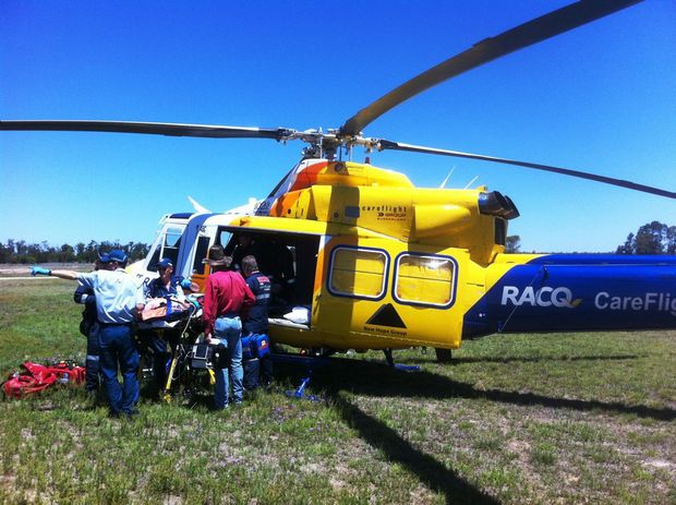 RACQ CareFlight airlift a man from a property near Condamine after he fell form his horse. Photo Contributed