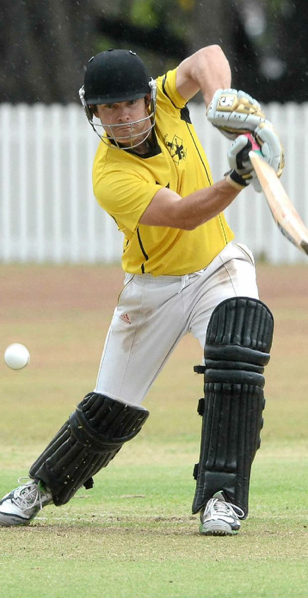Caloundra's Rod Gibbs in action against Hinterland. But his effort was all for nought as the umpires abandoned the game.