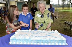 Ashwell State School principal Deborah Lewis with the school's youngest student Tahlia Cole, 5, and the school's oldest former student Ivy Clark (nee Loveday) at Ashwell State School's 125th anniversary celebrations on Saturday, November 10.