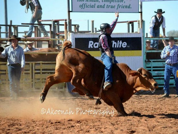 Cody Grealy in action the Stonehenge Rodeo. He was injured in a horse riding accident at a Condamine Feedlot on 12/11/2012. Pic by Akoonah Photography.