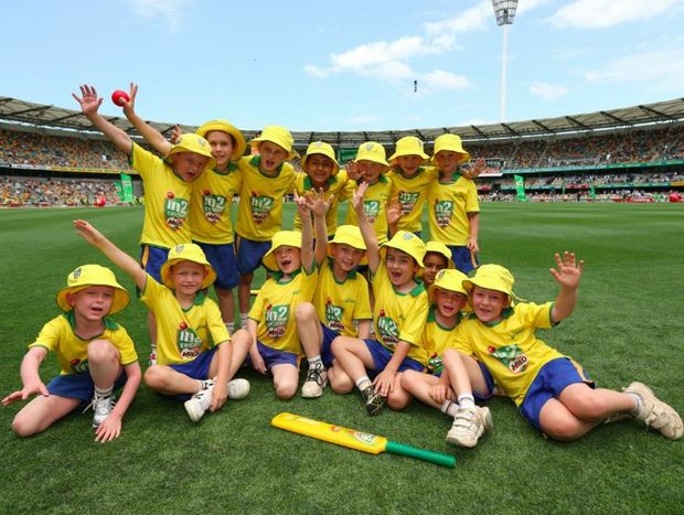 GABBA FUN: A Toowoomba Grammar School cricket team enjoys their time playing at the Gabba during the first Test.