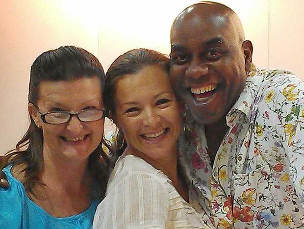 Joy and Christine Fox with celebrity chef Ainsley Harriott at the Brisbane Food and Wine Show.