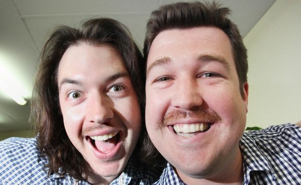 TEAM EFFORT: Chris Owen and Josh Steel show off their mo's for a good cause.