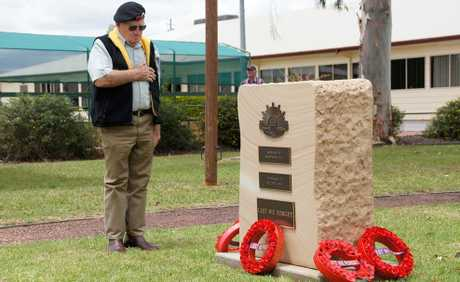 MOVING MOMENT: Veteran Doug Schmidt lays a wreath to remember his fallen comrades at Dalby's Anzac Park.  Photo: Mark Riedel/Dalby Herald