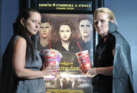 Twilight fans Suellen Telford and Tammy Behr are excited about the latest installment of the movie which airs in a midnight release on Wednesday. Photo: Rob Williams / The Queensland Times