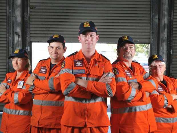 Locals are wearing orange to work to show support to the SES volunteers who help out in the community. Ipswich members Pamels Burrowa, Ipswich Group Leader Jeff Lindsay, Ben Scott, Chris Blythe and Jenny Rodgers. Photo: Rob Williams / The Queensland Times