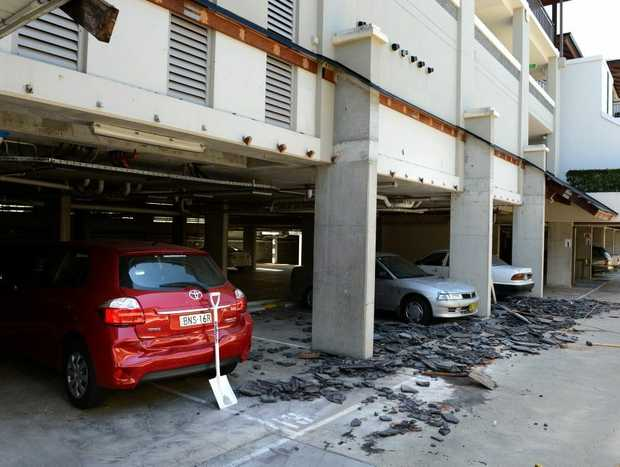Some cars were left damaged after an awning fell at Santai Resort.