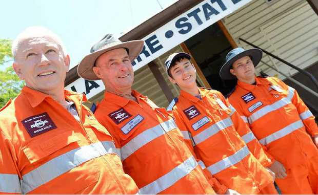 SES volunteers Terry Clark, Ray Myers, Alex Prace and Jamie Godfrey.