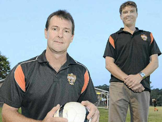 New Buderim coach Warren Crickmore and reserve-grade mentor Craig Williams.