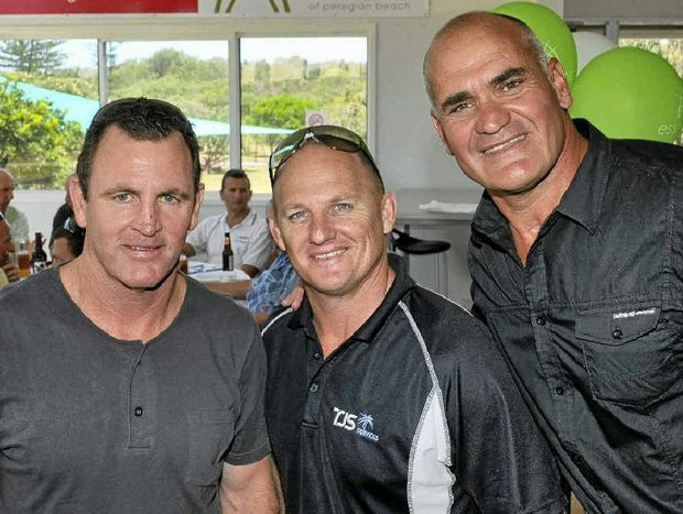 Michael O'Connor and Kerrod Walters with Warwick Cowboys Wall of Legends inductee Dale Shearer, who will be honoured this weekend.