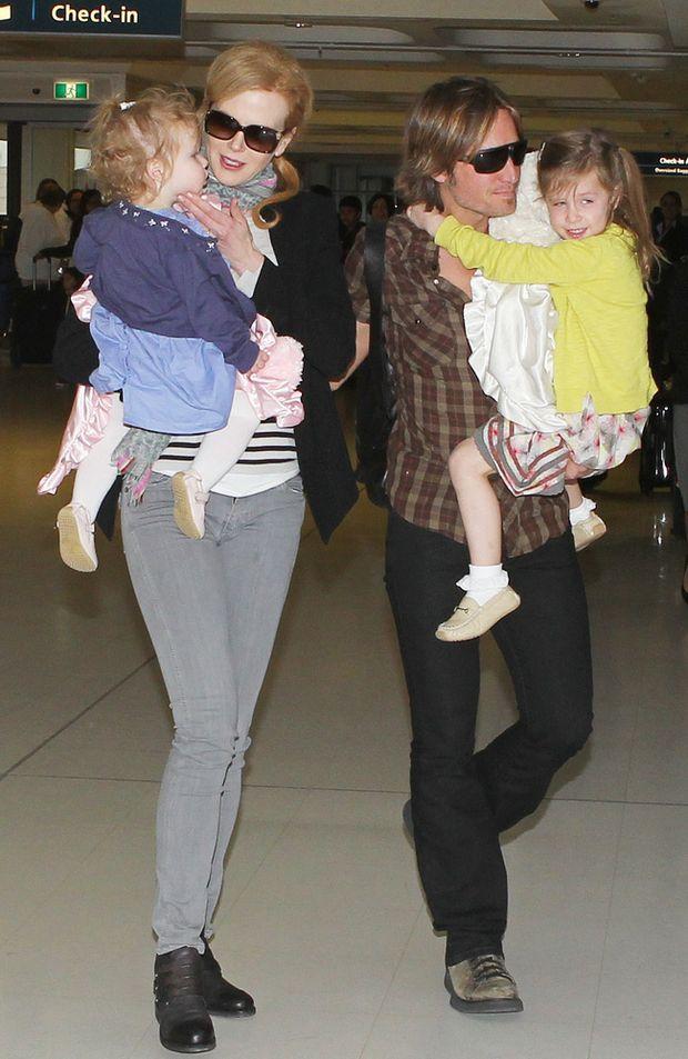 Nicole Kidman with Keith Urban and their children Sunday Rose and Faith Margaret Urban.