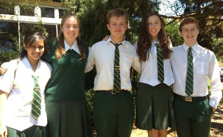 Centenary Heights State High School award winners (from left) Maisha Rahman, Bethany Rognoni, Lachlan Webb, Ashleigh Gehrig and Adam Little.