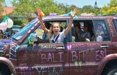Mountain Creek State High year 12 students leav school and celebrate big time. Photo: John McCutcheon / Sunshine Coast Daily