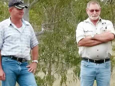 WORKING TOGETHER: Alan McGrigor, South East Burnett Landcare, and property owner Craig Hodges.