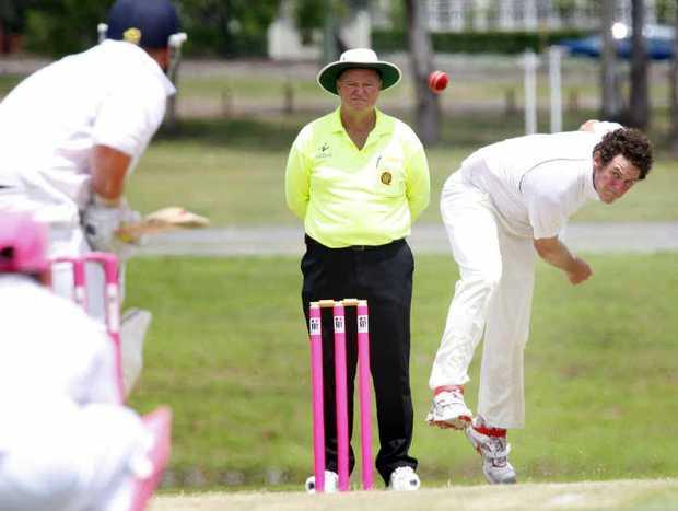COMING YOUR WAY: Centrals bowler Nick Vellacott in Ipswich grade cricket action.