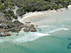 The Pass at Byron Bay, where the 3m long white pointer has been menacing surfers.