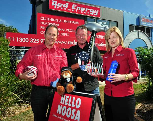 (L-R) Justin Veivers, John Leach and Jodi Veivers at Red Energy in Eumundi Road.
