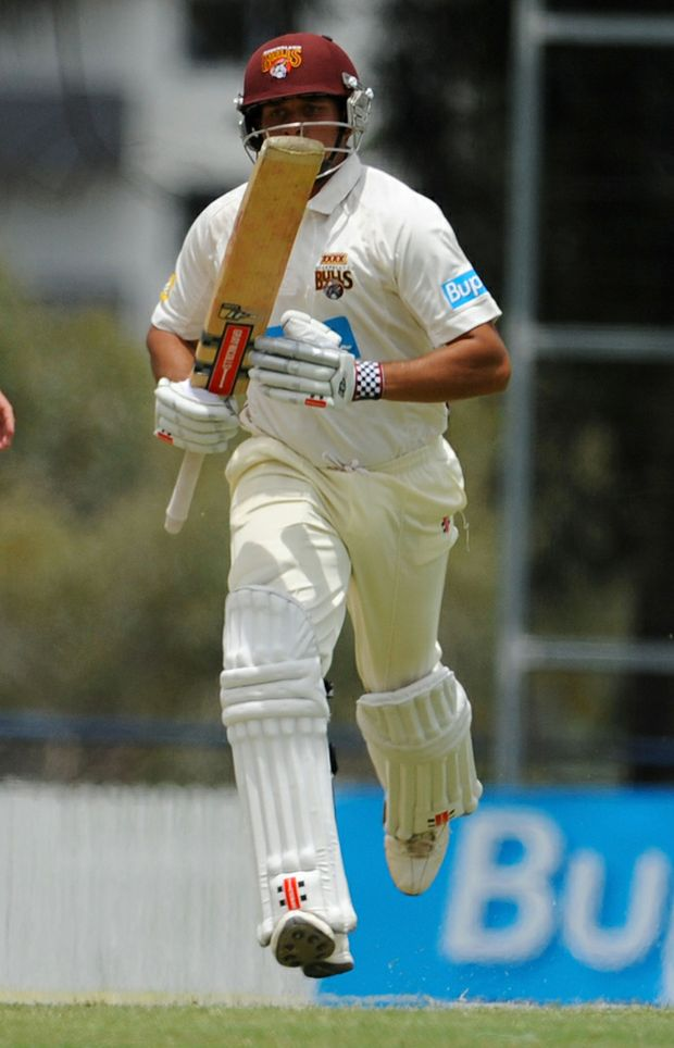 Usman Khawaja makes half a century during day three of the Sheffield Shield match between the Queensland Bulls and the New South Wales Blues at Allan Border Field.