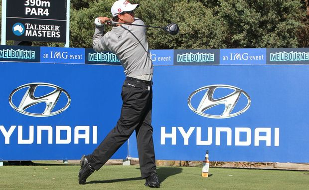 Adam Scott in action on Day 1 of the Talisker Masters Golf Tournament, Kingston Heath Country Club, Heatherton, Victoria.