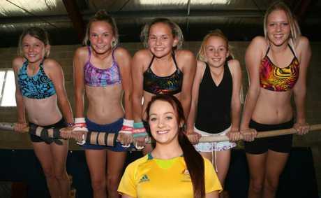 SPECIAL VISIT: Australian Olympian Larrissa Miller meets South Burnett PCYC gymnasts Meg Hansen, Emily Farrer, Bridget Collard, Kaitlyn Zelinski and Kelsie Smith during her visit to Murgon.
