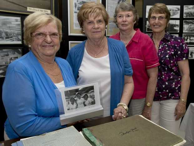Former Myer employees (from left) Lorna Helwig (1962), Kay Ashmore (1965), Susan Murphy (1962) and Yvonne McErlean (1962) talk about the early days at today's 50th anniversary celebrations.