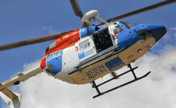 The Bundaberg AGL Action Rescue Helicopter winched two elderly couples to safety from flood waters east of Childers.