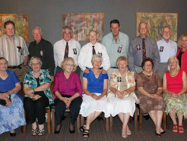 Class of 1952: Robert Armstrong, Leigh Wynne, Tony Tait, Col Gilmore, Malcolm Neill, Darryl Hutton, Alistair Kennedy and Heather Scurr. Seated: Deirdre Counsell, Denice Armstrong, Laura Tait, Jan Gilmore, Lynne Caithness, Zita Hutton, Jennifer Kennedy.