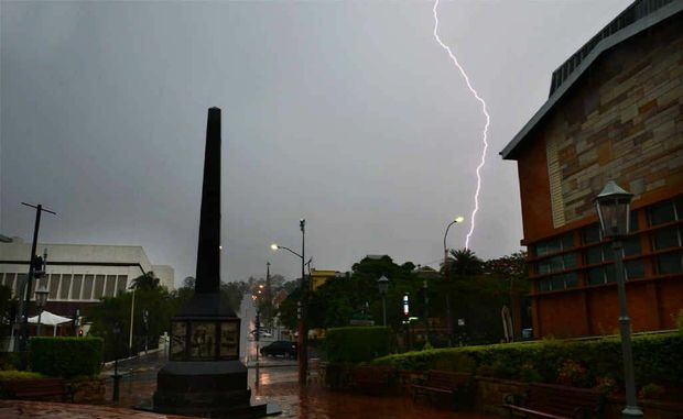 DOWNPOUR: Lightning and heavy rains hit the region as predicted.