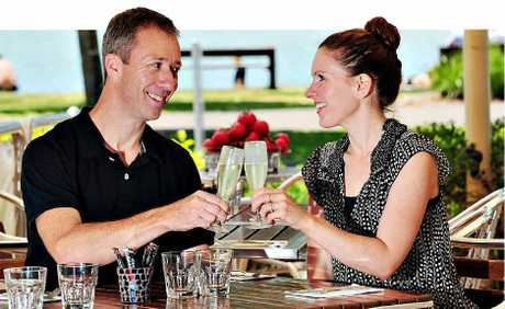 LEGAL CONTRACT: Andy Slavin and Leila Jones at Sirocco. He wants customers who laugh at his jokes.