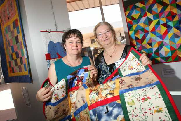 Estelle Drummond and Linda Buchanan at the Inala Art Gallery opening of Sherwood Uniting Church presents Uniting in Creativity . Photo: Inga Williams / The Satellite
