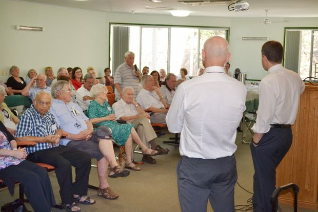 QUESTION TIME: Minister for Ageing Mark Butler and Member for Oxley Bernie Ripoll field questions at an aged care forum held at Sinnamon Village last week. Photo: Chris Owen / The Satellite