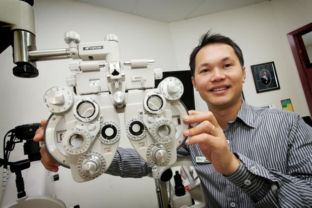 Optometrist Dr Huy Ho from A+ Eyecare in Inala is urging people to have regular eye checks. Photo: Inga Williams / The Satellite
