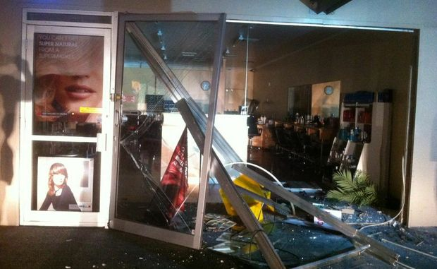 The scene at the Karalee Shopping Centre where some robbers stole an ATM from a haridresser's business. Photo: Contributed