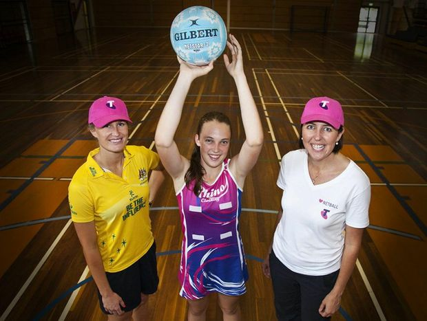 Netball legends Chelsea Pitman and Liz Ellis took some time out to train rising star Tilly Daniels. Photo: Contributed