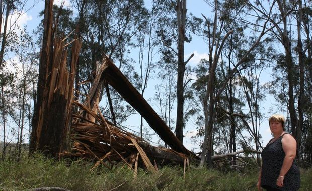 TRAIL OF DESTRUCTION: Wondai resident Vicky Parry surveyed the damage to her property after Saturday's storm.