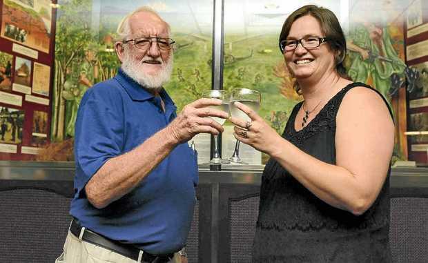 Clarence Valley Vietnam Veterans Association president Eric Lynn and Karen Greedy celebrate the veterans' donation.