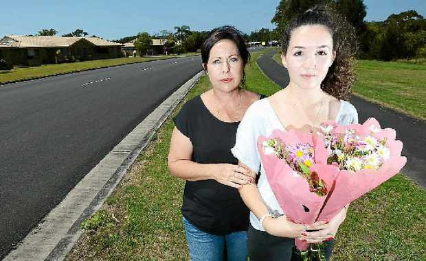 Maria Melville and Matilda Regan at the site where Rita Murphy was fatally stuck by a vehicle. Photo: Patrick Gorbunovs