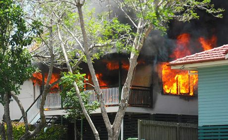 Three fire crews responded to the fire on Chalk St, Leichhardt, at around 11.40am, which gutted the home.