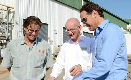 ON SITE: General manager for Greenmountain Food Processing Pty Ltd Jason Giddins (l) and director John Scarrabelotti (r) with member for Blair Shayne Neumann at the Greenmountain Food Processing plant.