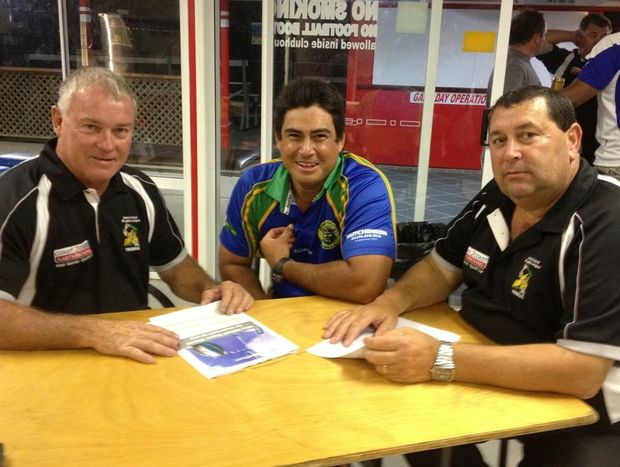 New GCTRL chairman Peter Daley (left) and operations manager Tom Marzella, flank Tweed Coast Raiders coach Arwin Marcus after the AGM on Wednesday night.