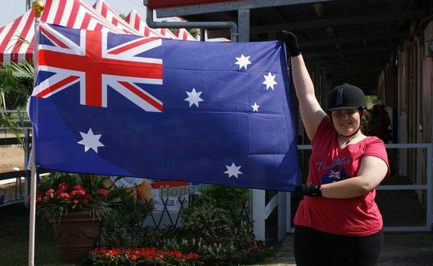 Lockyer Waters resident Chantal Simpson shows her national pride during the International Hope Cup in Taiwan.