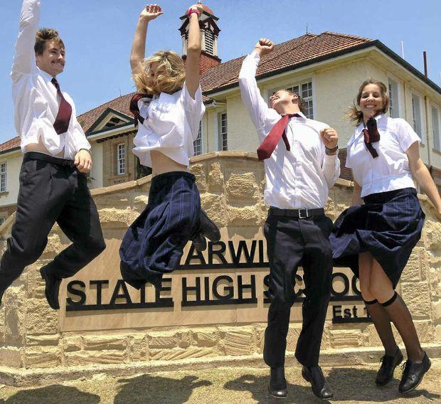 Warwick State High School students Jesse McDougall, Jessie Johnson, Hayden Haidley and Katie Johnson finished Year 12 last week.