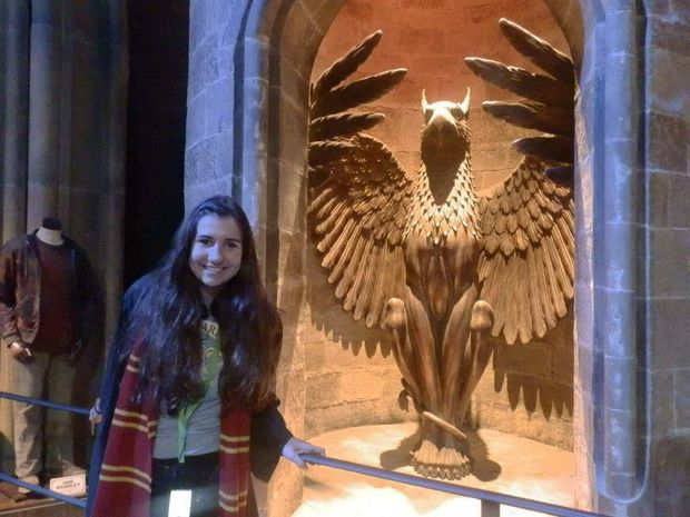 Jessie Gretener enjoys a tour of the Harry Potter movie studio outside London.