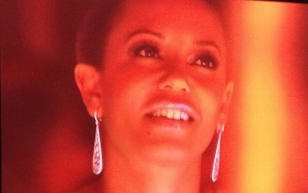 Judge Mel B watches on as Jason Owen performs in X Factor.